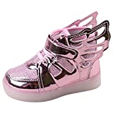 Meedot Baby Boys Girls LED Shoes Kids Athletic Wings Sport Running Sneaker Trainers Pink EU 23