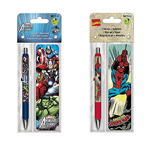 Marvel Spiderman and Avengers Assemble Pen and Bookmark Set - 6 Pack