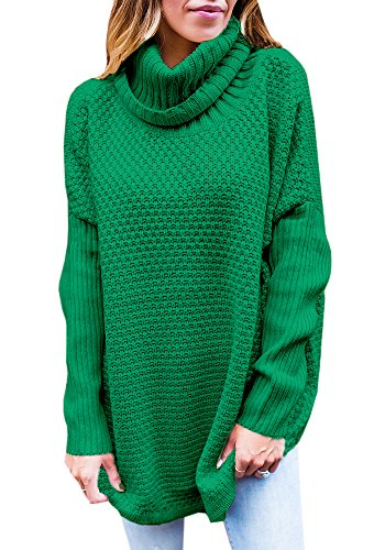 Cable Knit Pullover - Valphsio Women's Long Sweater Turtleneck Cable Knit Tunic Sweater Tops