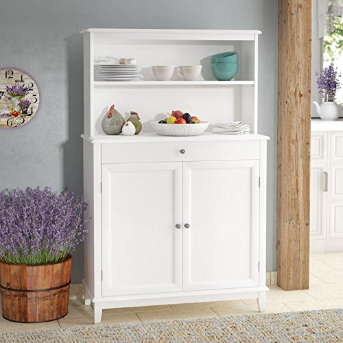 Dining Table Hutch - Modern Sideboard Buffet With Hutch - Kitchen Storage Cabinet - White Finish Utility Table - Dining Room Work Station