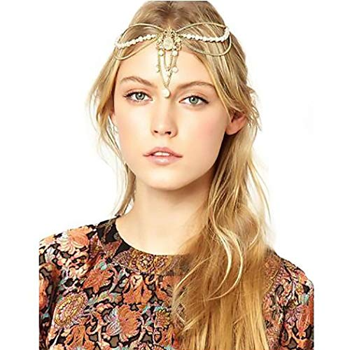 Campsis Gold Vintage Head Chains Pearl Beaded Boho Egyptian Indian Chain Fashion Pendant Headpieces for Women and Girls (Best Perfume For Indian Bride)