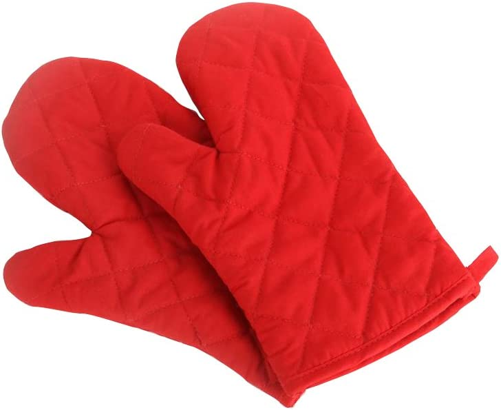Nachvorn Oven Mitts, Premium Heat Resistant Kitchen Gloves Cotton & Polyester Quilted Oversized Mittens, 1 Pair Red