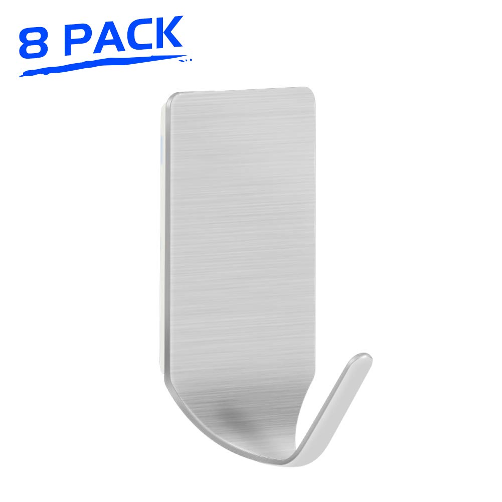 LuckIn Self Adhesive Hooks (8 Pack) Stainless Steel Stick on Wall Hook Heavy Duty Holders for Hanging Keys Robes Towels for Kitchen Bathroom