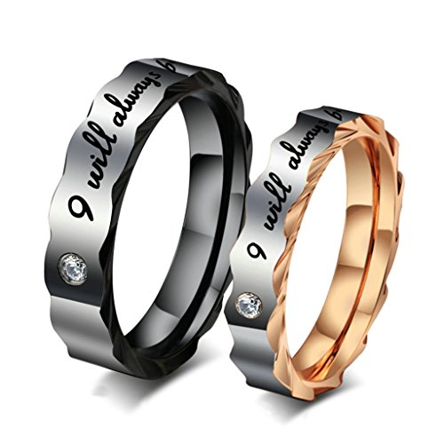 [AnaZoz Stainless Steel Couple Rings With Names Women Size 8 & Men Size 8] (Paper Bag Princess Couples Costume)