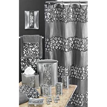 Popular bath sinatra silver shower curtain for Silver bath accessories set