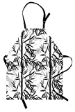 Lunarable Bamboo Apron, Abstract Forest Leaves Floral Chinese Garden Plants Zen Spa Summer, Unisex Kitchen Bib Apron with Adjustable Neck for Cooking Baking Gardening, Black Charcoal Grey White