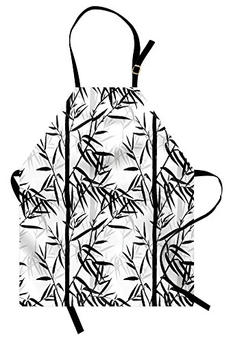 Lunarable Bamboo Apron, Abstract Forest Leaves Floral Chinese Garden Plants Zen Spa Summer, Unisex Kitchen Bib Apron with Adjustable Neck for Cooking Baking Gardening, Black Charcoal Grey White by Lunarable