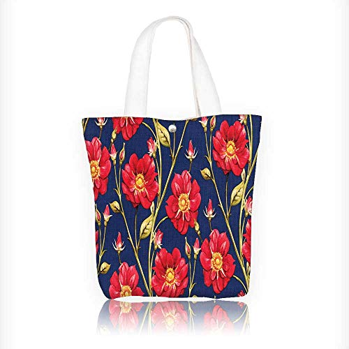 Canvas Zipper Tote Bag Printed composition with red roses on blue background Reusable Canvas Zipper Tote Bag Printed 100% Cotton W11xH11xD3 INCH -