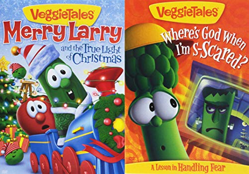A Very Veggie X-Mas/ Halloween: Veggie Tales- Merry Larry and the True Light of Christmas + Veggie Tales- Where's God When I'm Scared? Religious Cartoon DVD 2 Pack Bundle ()