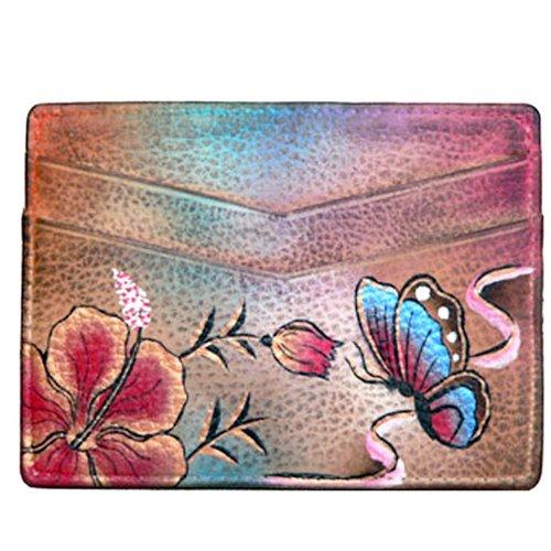 Anuschka Hand Painted Genuine Leather Credit Card Holder (Premium Hibiscus (Womens Premium Hibiscus Antique)