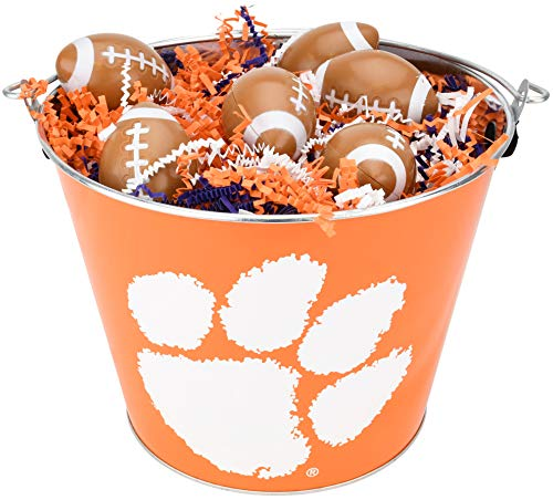 Clemson University Tigers NCAA Easter Basket Incl. Fillable Sports Eggs and Colored Grass Football Basketball Baseball Soccer Easter Gift Ideas (Football)