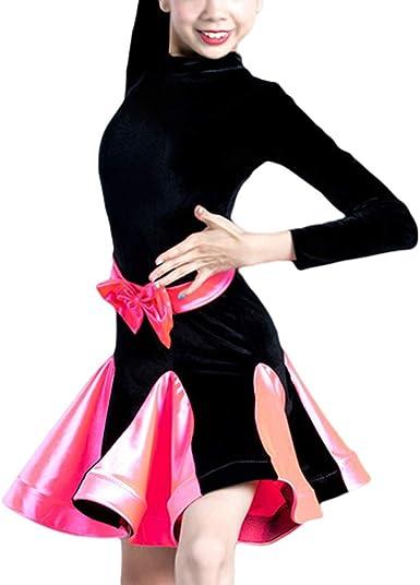 Vestido de Danza Latino para Ni/ñas Trajes de Carnaval Vestito de Baile Leotardo Princesa Falda Dancewear Tango Salsa Rumba Deportivo Ropa de Danza Fiesta
