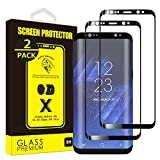 Yoyamo GT814 [2-Pack] Tempered Glass Screen Protector for Samsung Galaxy S8 [Full Screen Coverage] Anti-Scratch, 3D Curved, Bubble Free [Black]