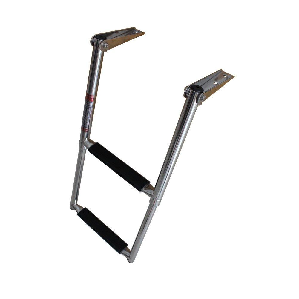 2 Step Telescopic Marine Drop Boat Ladder Swim Step - Stainless steel