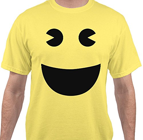 Adult Pac-Man Face Yellow T-shirt - S to 4XL - Ghost Eyes also available