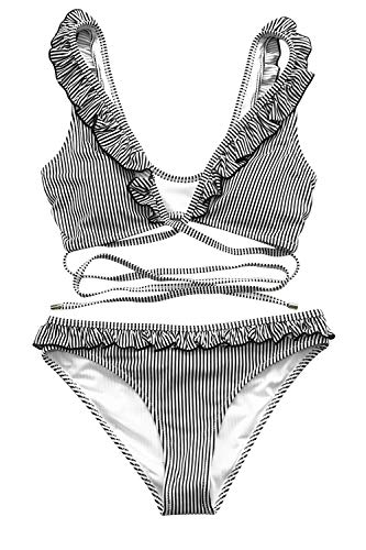 Design Swimsuit - CUPSHE Women's Falbala Cross Design Bikini Set Rising Sun Beach Swimwear Small