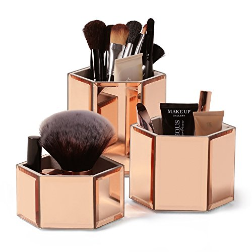 Beautify Mirrored Rose Gold Glass Hexagon Storage Pots for Makeup