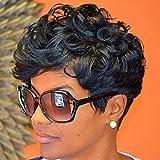 HOTKIS 100% Human Hair Short Curly Wigs Glueless Short Black Curly Hair Wigs for Black Women (Short Curly-1b#)