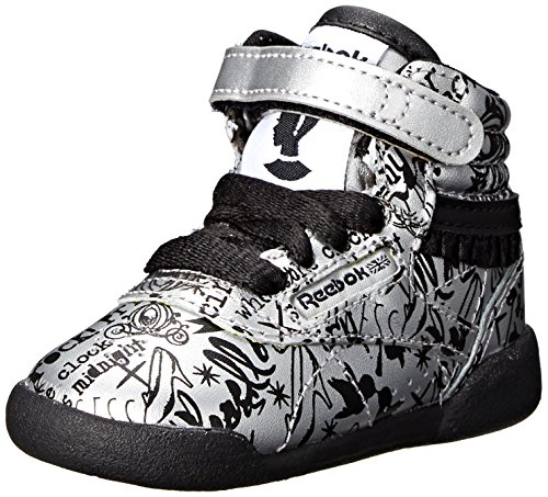 (Reebok Cinderella Freestyle Hi TD Shoe (Infant/Toddler),Matte Silver/Black/White,9 M US Toddler)