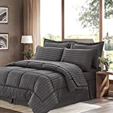 8 Piece Comforter Set Sweet Home Collection 8 Piece Comforter Set Bag with Dobby Stripe Design, Bed Fitted, 1 Flat Sheet, 2 Pillowcases, 2 Shams, King, Gray