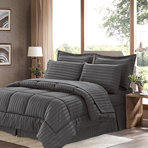 Sweet Home Collection 8 Piece Comforter Set Bag with Dobby Stripe Design, Bed Fitted, 1 Flat Sheet, 2 Pillowcases, 2 Shams, King, Gray