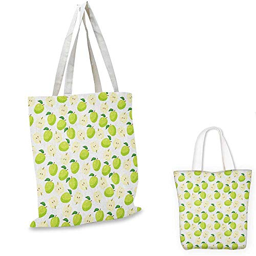 Apple royal shopping bag Cartoon Style Green Fruits Stalks Core and Seeds Anatomy of an Apple funny reusable shopping bag Brown Yellow Green Cream. 12
