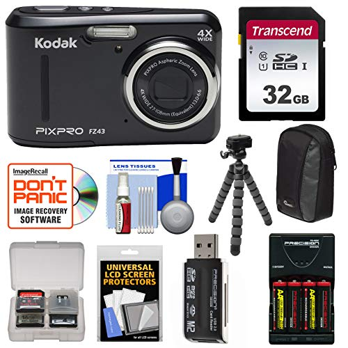 KODAK PIXPRO Friendly Zoom FZ43 Digital Camera (Black) with 32GB Card + Batteries & Charger + Case + Flex Tripod + Kit Review