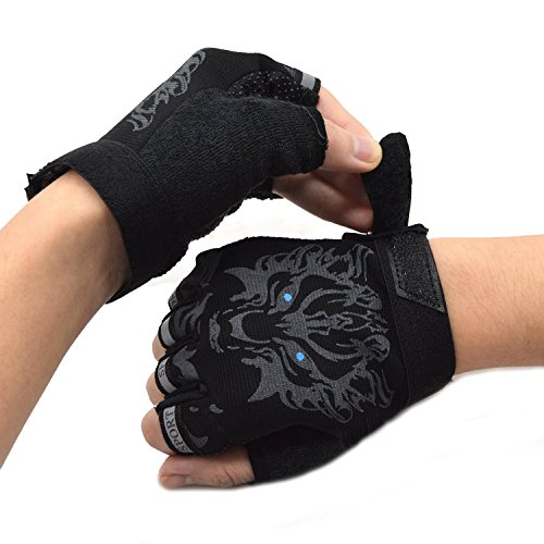 Kids Gloves Riding Gloves Non-Slip Half Finger Bike Gloves Breathable Fingerless Gloves for Roller Skating Climbing