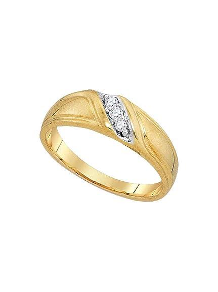 Juego de anillos de boda de oro amarillo de 10 quilates con diamante ...