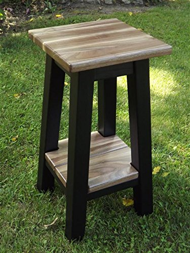 Modern Walnut Small Wood Side Table Stand With Shelf 24u0026quot; ...