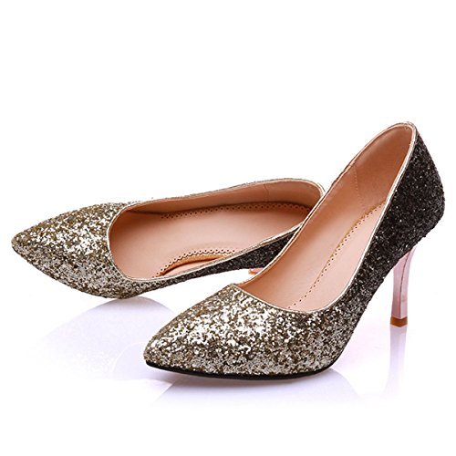 Toe Heel Party Pumps Stiletto Glitter Gold DecoStain Shoes Women's Pointed Wedding High Dress OxWAwxqt1