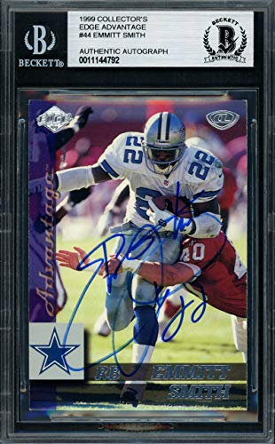Collectors Edge Autographed Card (Emmitt Smith Autographed 1999 Collectors Edge Card #44 Dallas Cowboys Beckett BAS #11144792)