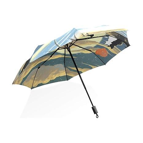 ISAOA Paraguas de Viaje automático Compacto Plegable Paraguas Gato en Amor Resistente al Viento Ultra Ligero