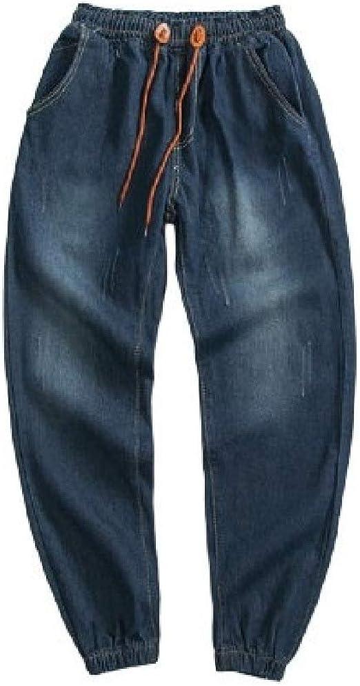 AngelSpace ポケットファッションストレッチジーンズでサイズ以上のメンズソリッドカラーウォッシュホール
