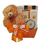 Honey Bear Spa Bath and Body Set Gift Basket 5 piece kit with Shower Gel, Lotion, Bathtub Soaking Salts, Exfoliating Scrub and Stuffed Teddy Bear Toy