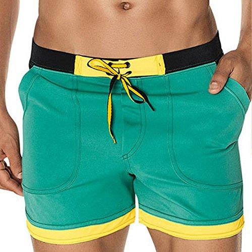 ZQ@QXXL fashion men's maillot de bain confortable et respirant pantalons de plage,M,green