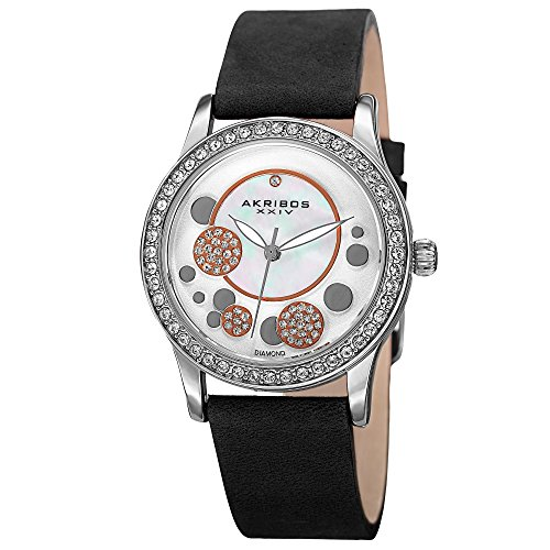 - Akribos XXIV Ornate Womens Casual Watch - Mother of Pearl Center Dial - Quartz Movement - Crystal Filled Bezel - Suede Leather Strap - Black