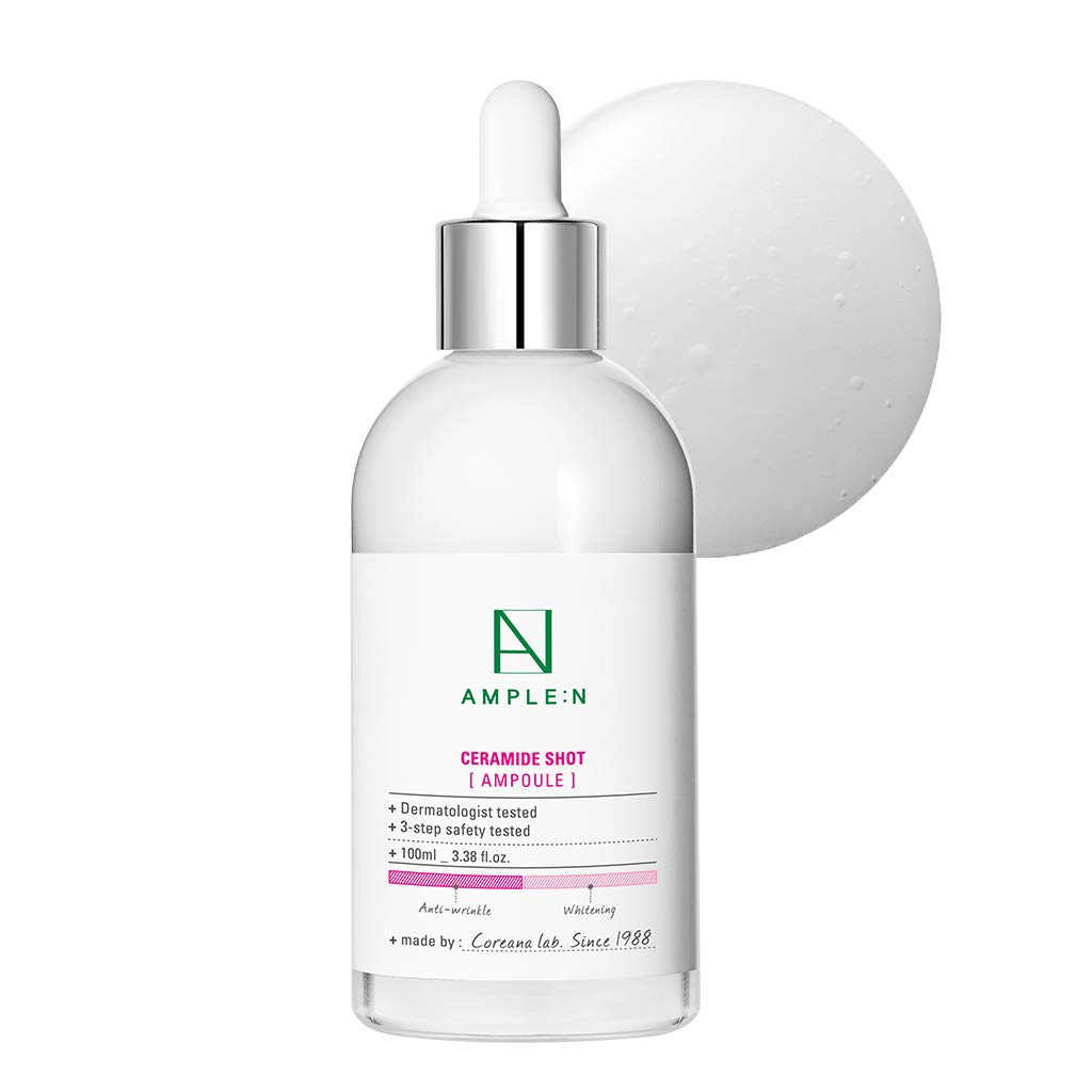 [AMPLE:N] Ceramide Shot Ampoule 3.38 fl. oz. (100ml) - Highly Concentrated Ultimate Hydrating Facial Serum for Dry and Rough Skin, Moisture-Locking, Reduced Wrinkles
