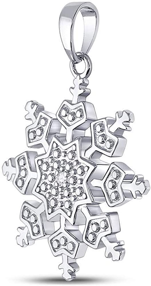 Diamond Pendant Sterling Silver Womens Round Snowflake Fashion .01 Cttw