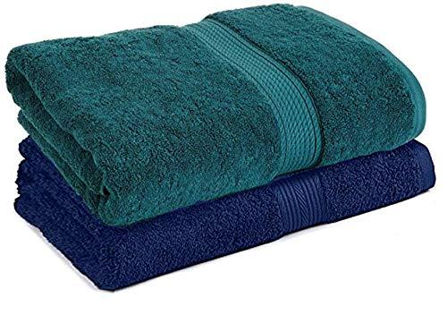 Trella 100% Cotton 500 GSM Large Cotton Bath Towel Set – 2 Piece :: 140 x 70 cm (Green Blue)