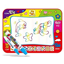 Aqua Doodle Mat, Large Magic Water Drawing Painting Writing Mat Pad Board, 4 Color Children Water Drawing Mat Board & Magic Pen Doodle, Gift for Boys Girls Toddlers Kids Children, 31.5 X 23.6 Inches