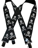 "Hold-Ups 2"" Skull & Crossbones pattern X-back suspenders with No-slip Clips"