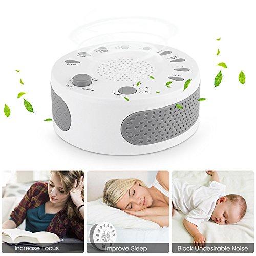 zeerkeer Machine à bruit blanc avec 10sons de relaxation et minuteur blanc rechargeable Portable Audio de sommeil générateur de Rumor pour bébé Adulte voyageur chambre de lit bureau