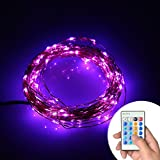 Xking 33ft / 10m 100 Leds Copper Wire String Lights / Christmas, Wedding and Party Decorative Lights / Controllable:flash , Strobe , Fade (Purple)