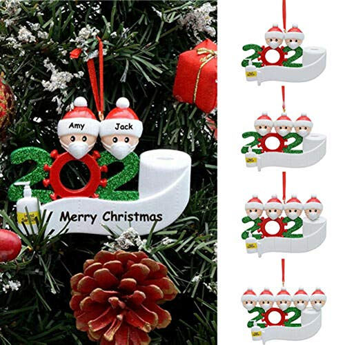WISREMT Personalized 1-7 Family Members Name Christmas Snowman Ornament Kit, 2020 DIY Customized Christmas Tree Hanging Decorating Kit Funny Creative Gift for Friends