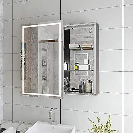 Elegant 430 X 690mm Illuminated Led Bathroom Sliding Mirror Cabinet
