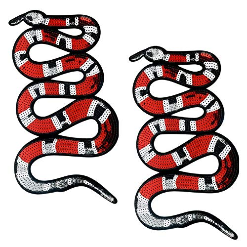 Special100% 2 PC Large Red Snake Patch Pattern Iron On Patches Embroidery Applique Glitter Sequin Embroidered Decoration Vintage Animal Patch DIY Patch for T-shirt,Jeans Clothing