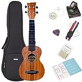 Koa Soprano Ukulele Bundle with Bag and Tuner, Strap, Extra Aquila Strings, Polishing