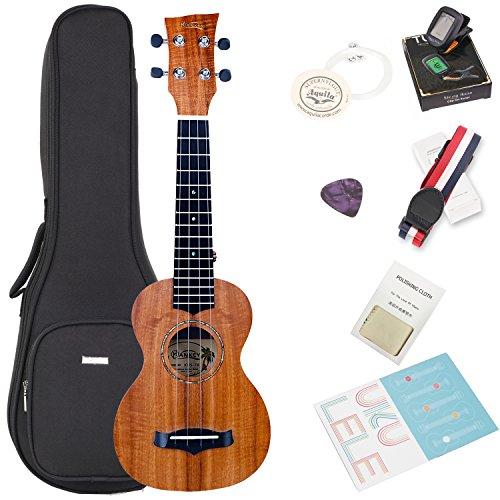 Koa Soprano ukulele Bundle with Bag and Tuner, Strap, Extra Aquila Strings, Polishing Cloth, 2 Pins Installed, Instructional Book, KUS-70 HANKEY by HANKEY