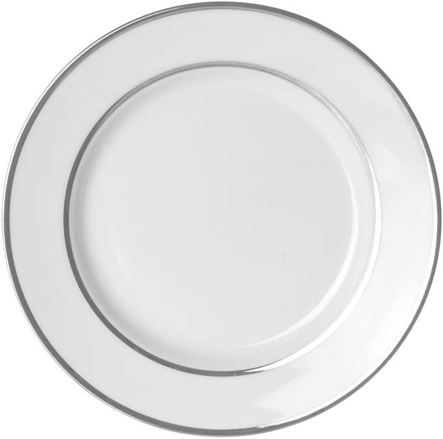 "10 Strawberry Street Double Silver Line 7.75"" Salad/Dessert Plate, Set Of 6, White/Silver"